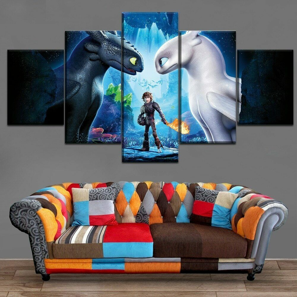How to Train Your Dragon Kids 5 Panel Art Home Canvas Oil Wall Art Picture Print