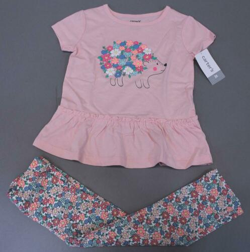 Carter/'s Toddler Girls 2-Piece Floral Hedgehog Tunic /& Leggings Set CD4 Pink 3T