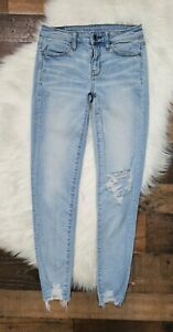 American-Eagle-Super-Stretch-Distressed-Jeggings-Denim-Blue-Jeans-size-0