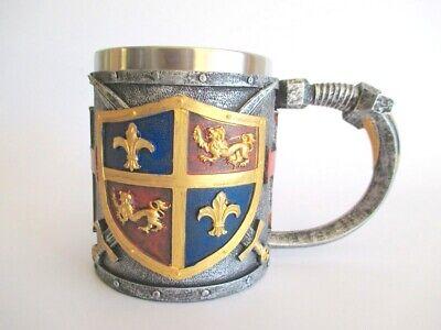 Ritter Wappen Krug 16 Cm Relief Edelstahl Becher Mittelalter Knight Um Zu Helfen, Fettiges Essen Zu Verdauen