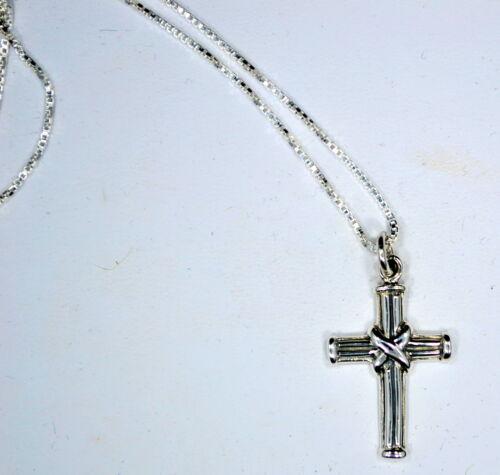 """Sterling Silver Pendentif Croix 1.25/"""" Long X 3//4/"""" Large Avec 18/"""" .925 Boîte De Chaîne 925"""