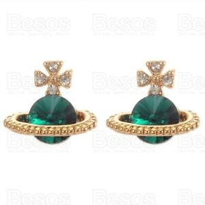 Mini 3D Gold Orb Saturn Emerald 12mm Faceted Stone CRYSTAL Stud Planet Earrings