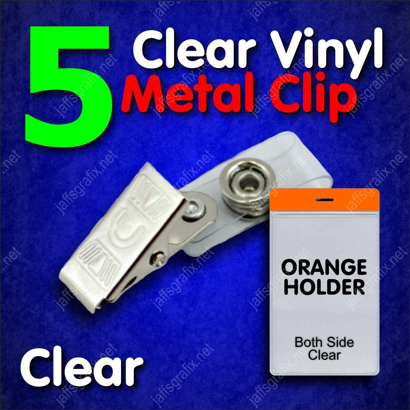 Clear Metal ID Badge Holder Clip with Orange Holder Vertical
