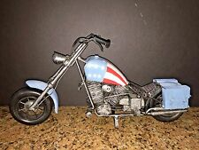 "VINTAGE1960'S HARLEY DAVIDSON METAL CHOPPER MOTORCYCLE FIGURINE USA FLAG 14"" x 7"