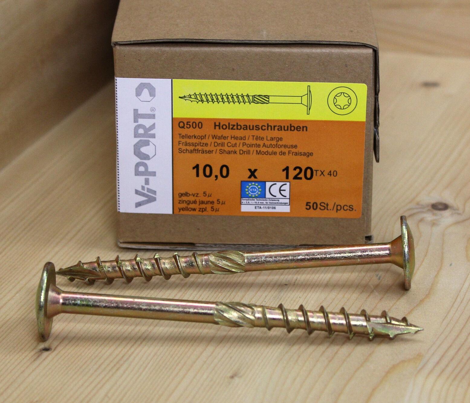 10 mm Vi-PORT® Tellerkopfschrauben EU-Zulassung Holzbauschrauben Tellerkopf TX40