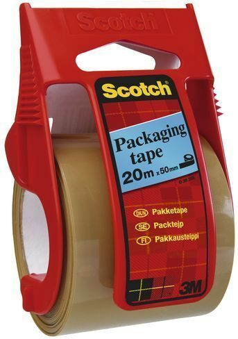 Scotch Packaging Tape Extra Quality in Dispenser for 5kg up to 10kg 50mmx20m Cle