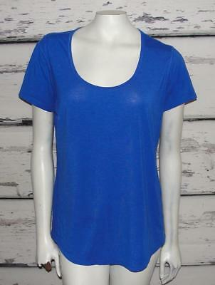 LUCY ACTIVEWEAR~COBALT BLUE *LUCY-TECH WORKOUT TEE* GYM~ROUND HEM~TUNIC TOP~L