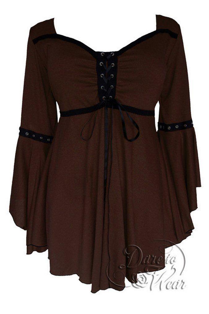 Sexy Dare to Wear OPHELIA Gothic Victorian Corset oben Walnut braun M -MSRP  66