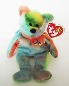 6d52c2e26c6 TY BEANIE BABY PEACE BEAR PVC 10 ERRORS 4TH GEN HANG   TUSH RETIRED ...