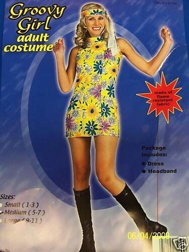 Groovy Girl 60s Go Go Hippie Flower Dress Halloween Adult Costume