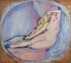 Tableau-ancien-vers-1930-40-034-Femme-nue-034