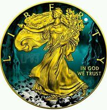 2016 WALKING LIBERTY Halloween 1oz fine silver coin USA 24K Gold Gilded..
