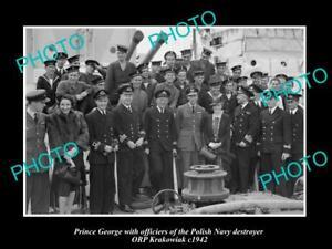 OLD-LARGE-HISTORIC-PHOTO-POLAND-MILITARY-POLISH-NAVY-ORP-KRAKOWIAK-amp-PRINCE-1942