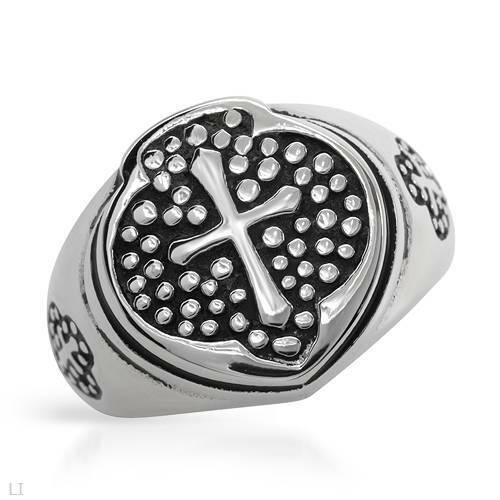 Details about  /Gentlemens Cross Ring Crafted in Two Tone Stainless steel Size 9
