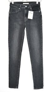 Details about Womens Levis HIGH RISE SKINNY 721 Black Stretch Jeans Size 8 L30