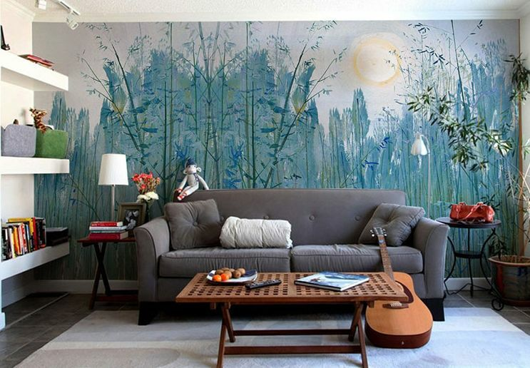 3D bluee Forest Branches Wall Paper Wall Print Decal Wall Deco Indoor wall Murals
