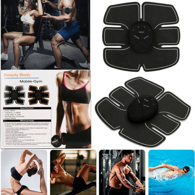 AU EMS Remote Control Abdominal Muscle Trainer Smart Body Building Fitness Abs