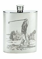 6 Oz. English Pewter Flask With Golfer Design On Both Sides, In Box