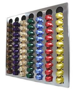 new nespresso coffee capsules 70 pods wall holder dispenser stainless steel ebay. Black Bedroom Furniture Sets. Home Design Ideas