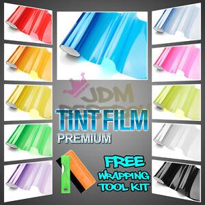 "*12/""x36/"" Glossy Light Blue Tint Headlights Fog Lights Taillight Vinyl Film"