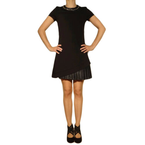 Damen Leder Look Kleid Kleider schwarz  38 36 40 42 Abendkleid mit Halskette