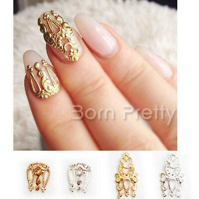5Pcs/kit 3D ongle métal Nail Art Creux Design bijoux vintage décoration manucure