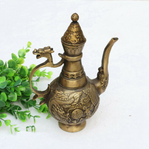 Chinese old brass hand-carved dragon phoenix statue teapot wine pot