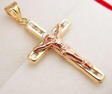 10k Tri Color Gold Cross Charm Crucifix Pendant