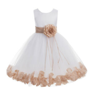 0987dde4451 Image is loading Wedding-Pageant-Floral-Rose-Petals-White-Flower-Girl-