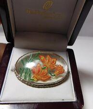 British Vintage Intaglio Crystal Glass Reverse Painted Primula Flowers Brooch