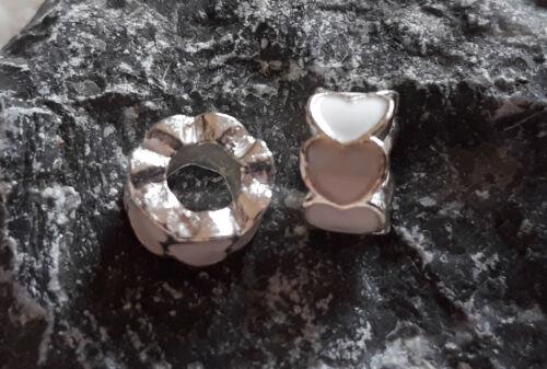 2 Herz Beads Großloch Perlen Paracord Lanyard Armband Großlochperlen H30 H37
