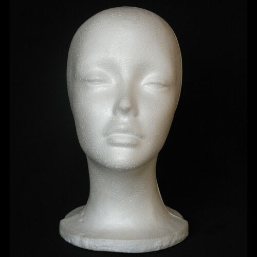 Female Mannequin Head Display Stand For Wigs Glasses Scarves Hats Plastic White