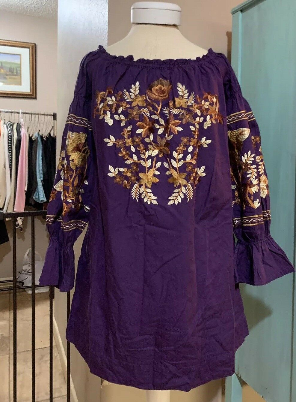 Free People People People Fleur Du Jour Off The Shoulder Mini Dress XS Embroidered Purple  148 908bf3