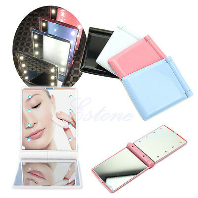 Lady Makeup Cosmetic Folding Portable Compact Pocket Mirror 8 LED Lights Lamps