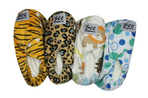 SEE DIAPERS ONE SIZE MINKY BABY CLOTH DIAPER W// 2 INSERTS MICROFLEECE INNER NEW