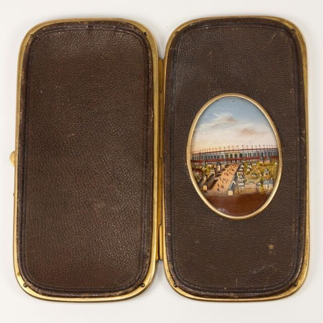 Antique French Eglomise & Leather Cigar or Spectacles Case, 1889 Paris Expo View