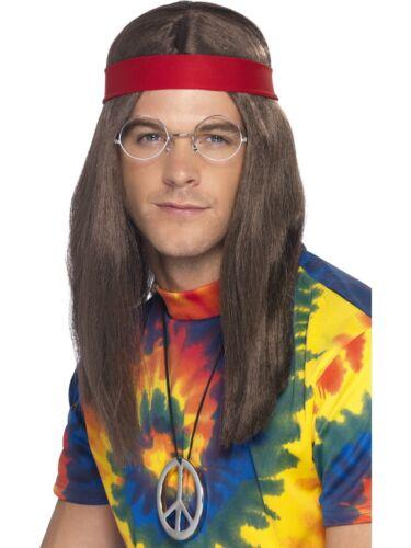 1960/'s Hippie Guy Brown Hair Wig Headband Medallion Men/'s Costume Set Glasses