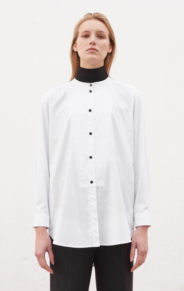 NEW Rodebjer Lux XS Top Tuxedo Shirt Weiß Mandarin Collar Cotton Buttons