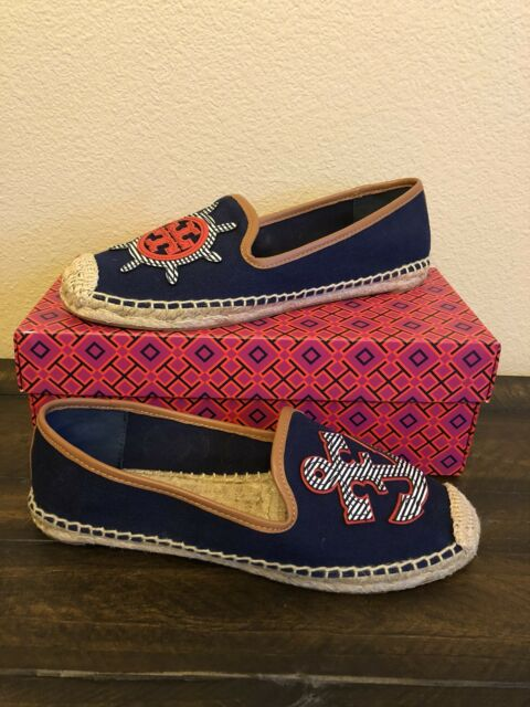 TORY BURCH MARITIME FLAT ESPADRILLE NAVY SEA MULTI COLOR WOMEN'S SIZE 5 new