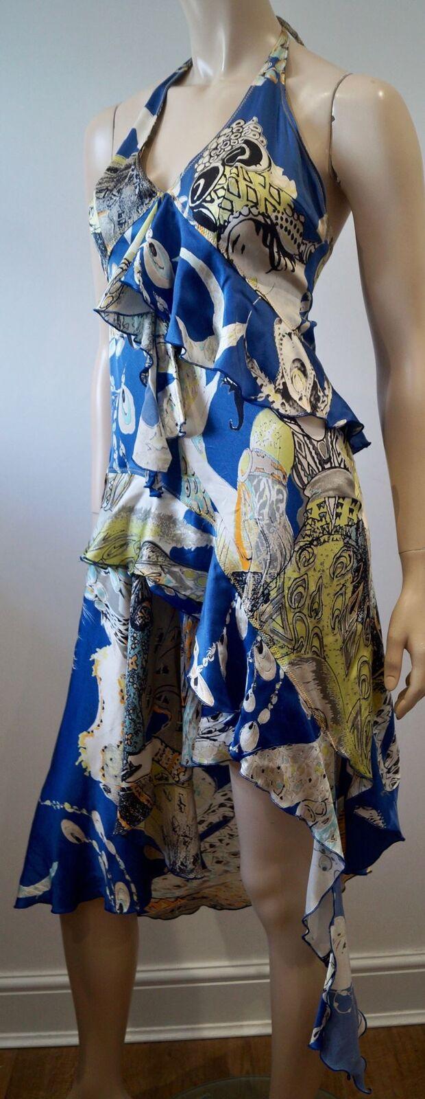 Just CAVALLI Seta Blu Multi colore Abstract Stampa Halter Neck abito da sera