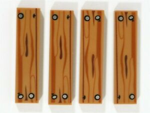 LEGO WOOD GRAIN 1X3 DARK TAN TILE PART X10 PRINTED SILVER NAILS PATTERN WOODEN