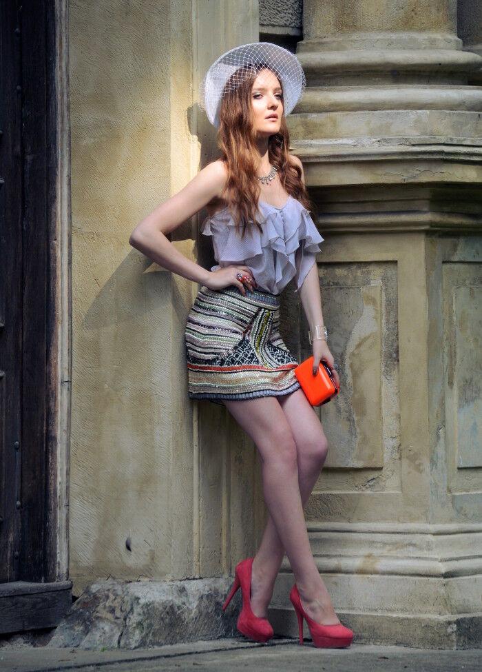 Rare ZARA Multicolor Beaded Embellished Striped Sequin Skirt M Blogger Style