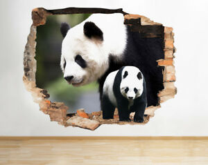 F968-osos-panda-Zoo-Safari-Animal-Smas-pegatina-pared-vinilo-3d-habitacion-ninos