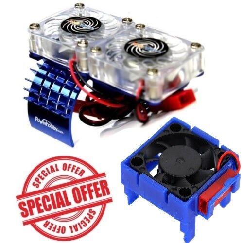 Motor Kühlkörper Doppel Lüfter Powerhobby Traxxas Slash 4x4 Velineon Lüfter