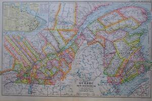 1919-MAP-QUEBEC-PLAN-CITADEL-POST-OFFICE-NEW-BRUNSWICK-TEMISCOUATA-ST-JOHN