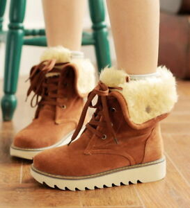Ladies-Womens-Winter-Warm-Fur-Lined-Flat-Lace-Up-Snow-Ankle-Boots-Shoes-UK2-5-8