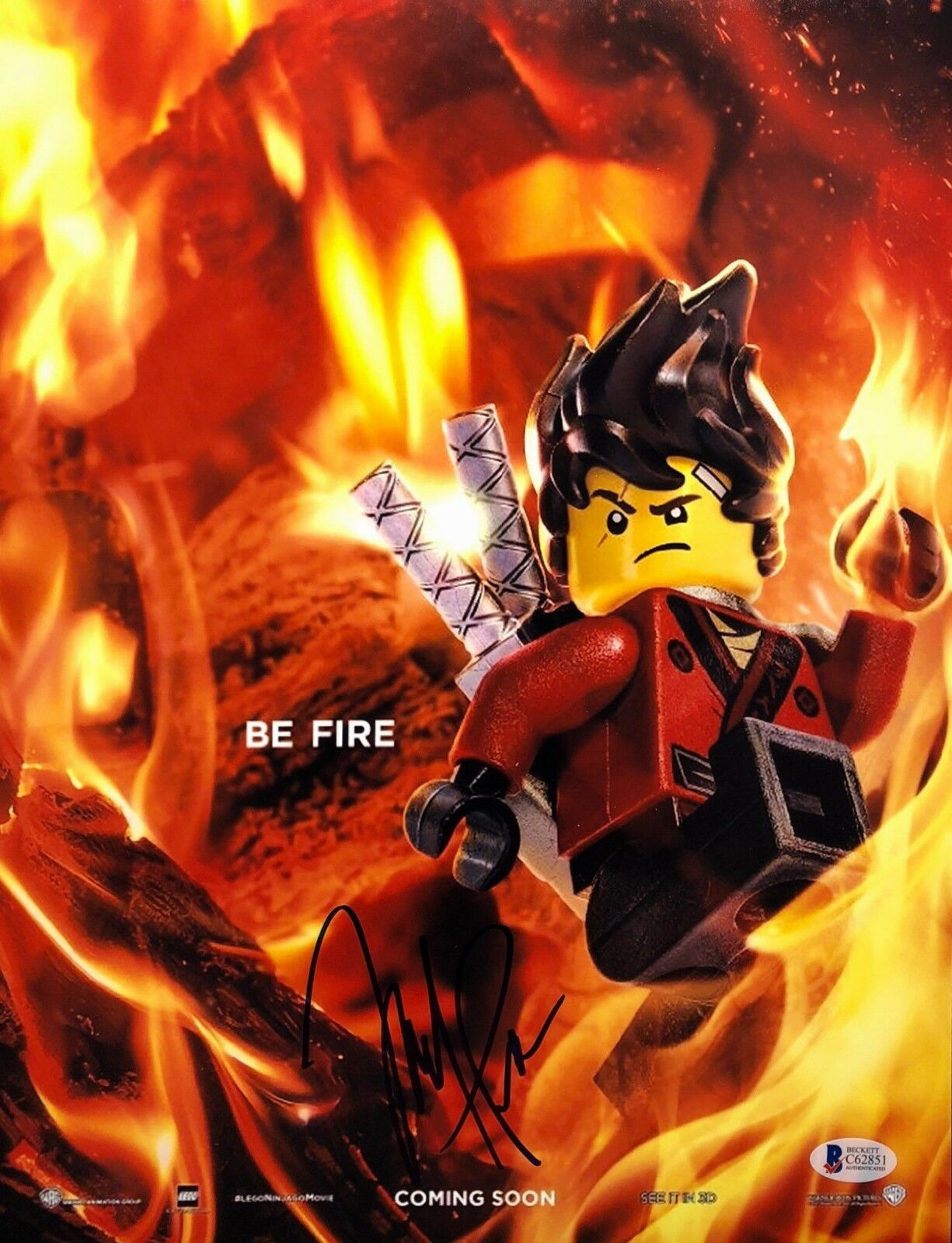 Michael Pena Signed 'Be Fire' Lego Movie 11x14 Photo BAS Beckett C62851