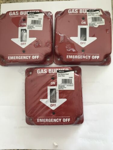 LOT OF 3 AMERELLE Red 1-Gang Toggle Wall Plate Gas Burner Emergency Off C978T