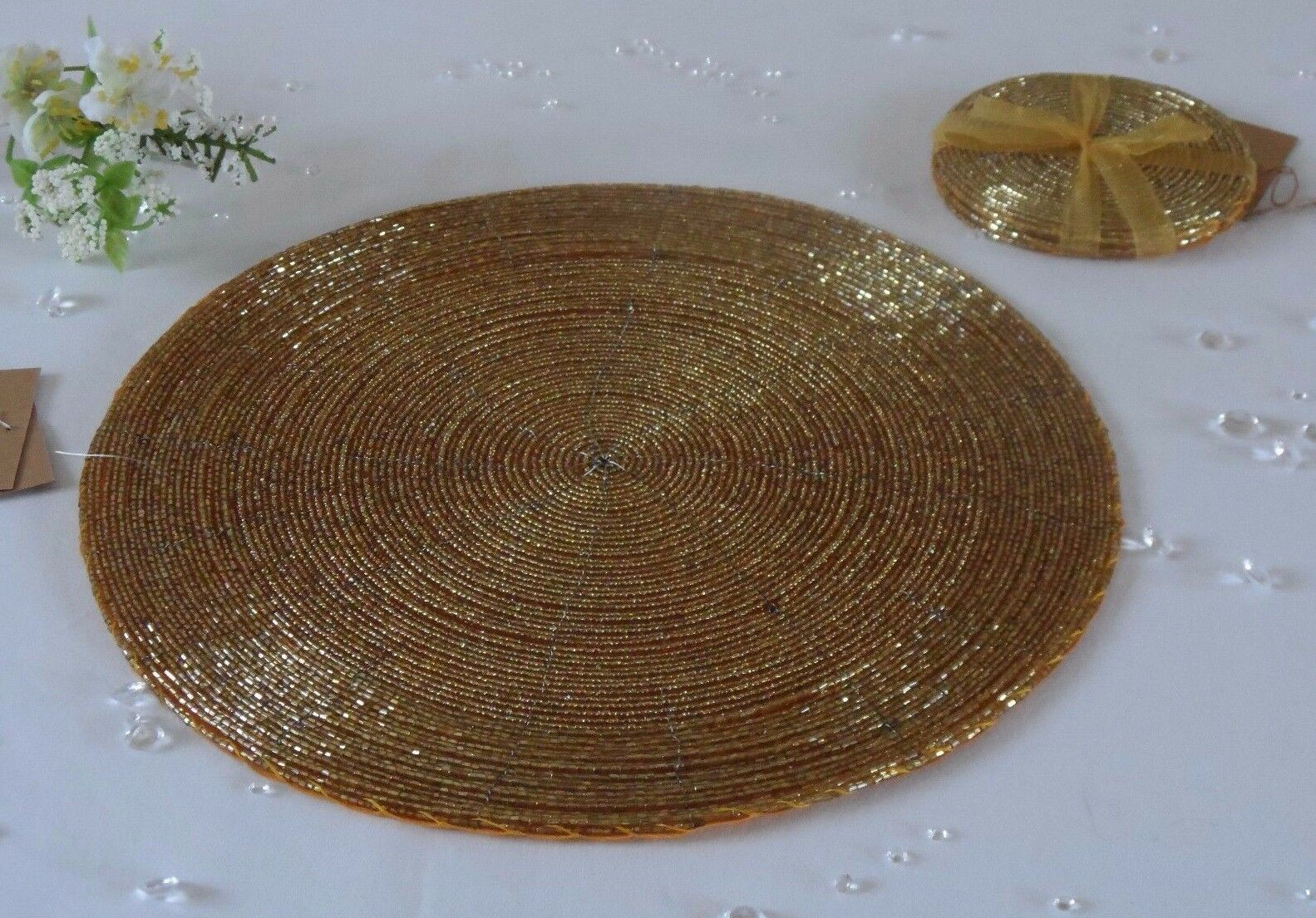 4 Round Glass Beaded gold Placemats Table Place Mats & Coasters Set - Wedding
