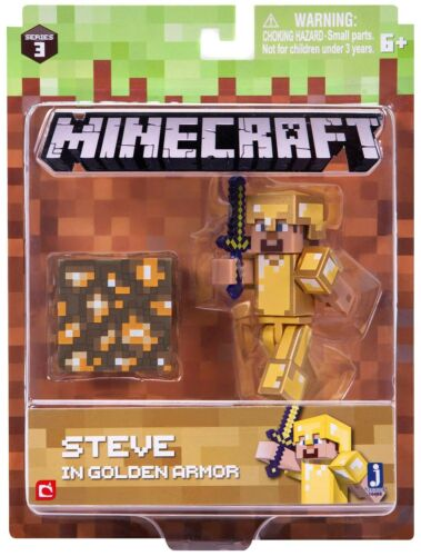 Minecraft Series 3 Steve in Gold Armor Action Figure Set